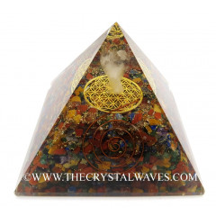 Chakra Chips Big  Orgone Pyramid With Crystal Quartz Angel And Flower Of Life
