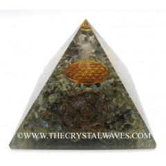 Labradorite Chips Big  Orgone Pyramid With Crystal Quartz Angel And Flower Of Life