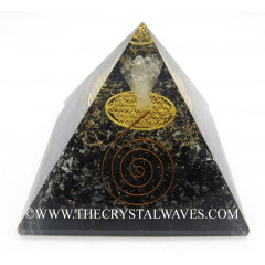 Black Tourmaline Chips Big  Orgone Pyramid With Crystal Quartz Angel And Flower Of Life