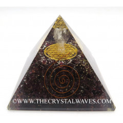 Garnet Chips Big  Orgone Pyramid With Crystal Quartz Angel And Flower Of Life