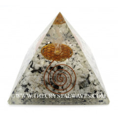 Rainbow Moonstone Chips Big  Orgone Pyramid With Crystal Quartz Angel And Flower Of Life