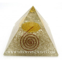 Crystal Quartz Chips Big  Orgone Pyramid With Crystal Quartz Angel And Flower Of Life