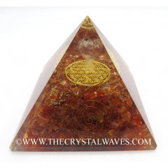 Carnelian Chips Big  Orgone Pyramid With Crystal Quartz Angel And Flower Of Life