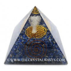 Lapis Lazuli Chips Big  Orgone Pyramid With Crystal Quartz Angel And Flower Of Life