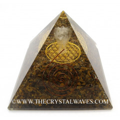Tiger Eye Agate Chips Big  Orgone Pyramid With Crystal Quartz Angel And Flower Of Life