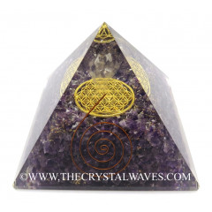 Amethyst Chips Big  Orgone Pyramid With Crystal Quartz Angel And Flower Of Life