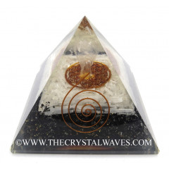 Black Tourmaline & Selenite Chips Big  Orgone Pyramid With Crystal Quartz Angel And Flower Of Life