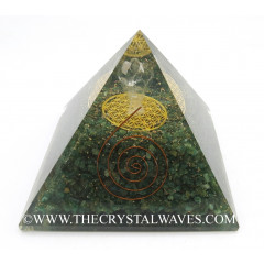 Green Aventurine Chips Big  Orgone Pyramid With Crystal Quartz Angel And Flower Of Life