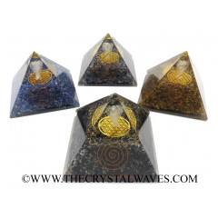Mix Assroted Gemstones Chips Big  Orgone Pyramid With Crystal Quartz Angel And Flower Of Life