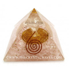 Rose Quartz Chips Big  Orgone Pyramid With Crystal Quartz Angel And Flower Of Life