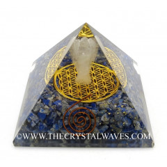 Lapis Lazuli Chips Orgone Pyramid With Crystal Quartz Angel And Flower Of Life