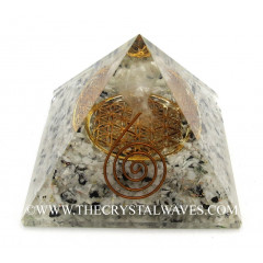 Black Tourmaline & Selenite Chips Orgone Pyramid With Crystal Quartz Angel And Flower Of Life