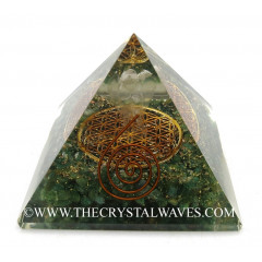 Green Aventurine Chips Orgone Pyramid With Crystal Quartz Angel And Flower Of Life