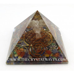 Chakra Chips Orgone Pyramid With Crystal Quartz Angel And Flower Of Life