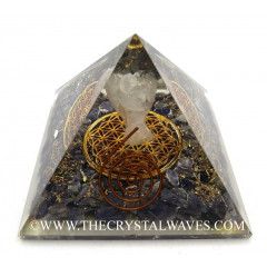 Blue Aventurine Chips Orgone Pyramid With Crystal Quartz Angel And Flower Of Life