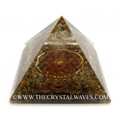Tiger Eye Agate Chips Orgone Pyramid With Crystal Quartz Angel And Flower Of Life