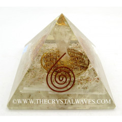 Selenite Chips Orgone Pyramid With Crystal Quartz Angel And Flower Of Life