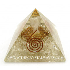 Crystal Quartz Chips Orgone Pyramid With Crystal Quartz Angel And Flower Of Life