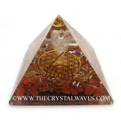 Red Jasper Chips Orgone Pyramid With Crystal Quartz Angel And Flower Of Life