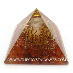 Carnelian Chips Orgone Pyramid With Crystal Quartz Angel And Flower Of Life