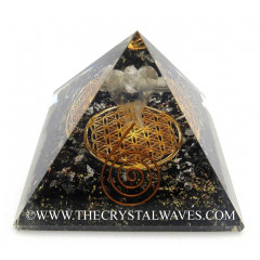 Black Tourmaline Chips Orgone Pyramid With Crystal Quartz Angel And Flower Of Life