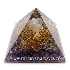 Amethyst Chips Orgone Pyramid With Crystal Quartz Angel And Flower Of Life