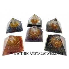 Mix Assorted Gemstone Chips Orgone Pyramid With Crystal Quartz Angel And Flower Of Life