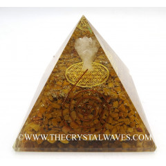 Yellow Aventurine Chips Orgone Pyramid With Crystal Quartz Angel And Flower Of Life