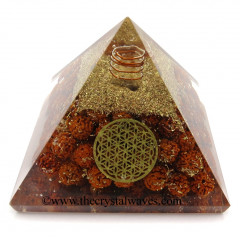Rudraksha Beads Orgone Pyramid With Flower Of Life Symbol