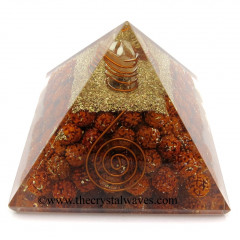 Rudrasha Beads Orgone Pyramid With Copper Wrapped Crystal Point