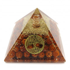 Rudraksha Beads Orgone Pyramid With Tree Of Life Symbol