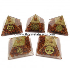 Rudraksha Beads Orgone Pyramid With Mix Assorted Symbol