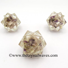 Rose Amethyst Crystal Chips Orgone 16 Point Merkaba
