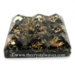 Black Tourmaline Chips Orgone Lemurian 9 Pyramid Power Plate