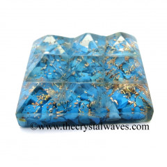 Turquoise Manmade Chips Orgone Lemurian 9 Pyramid Power Plate