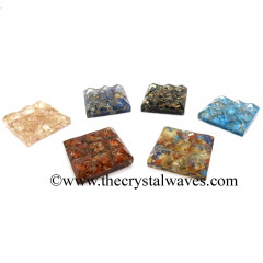 Mix Assorted Gemstone Chips Orgone Lemurian 9 Pyramid Power Plate