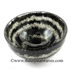 Black Tourmaline & Crystal Quartz Layered Chips Orgone 4 Inch Bowl