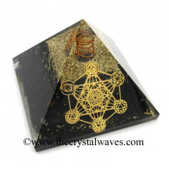 Shungite Chips Orgone Pyramid With 7 Chakra Metatron's Cube Symbol