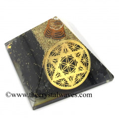 Shungite Chips Orgone Pyramid With Star Of David & Flower Of Life Symbol
