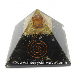 Shungite Chips Orgone Pyramid With Copper Wrapped Crystal Point