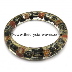 Black Tourmaline & Red Jasper Chips Orgone Bangles