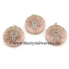 Rose Quartz Chips With Hamsa Symbol Round Orgone Disc Pendant