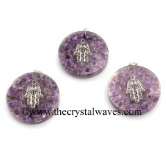 Amethyst Chips With Hamsa Symbol Round Orgone Disc Pendant