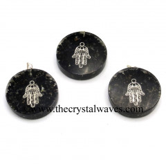 Black Tourmaline Chips With Hamsa Symbol Round Orgone Disc Pendant