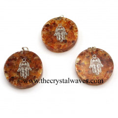 Carnelian Chips With Hamsa Symbol Round Orgone Disc Pendant