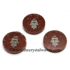 Red Jasper Chips With Hamsa Symbol Round Orgone Disc Pendant
