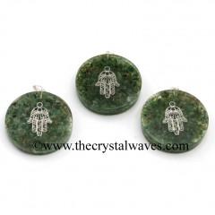 Green Aventurine Chips With Hamsa Symbol Round Orgone Disc Pendant