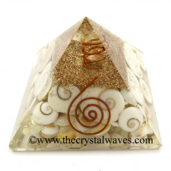 Gomti Chakra / Shiva Eye Pearl Orgone Pyramids With Copper Wrrapped Crystal Point