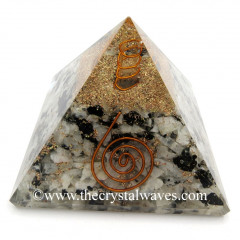 Rainbow Moonstone Good Quality Chips Orgone Pyramids With Copper Wrrapped Crystal Point