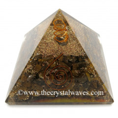 Tiger Eye Agate Chips Orgone Pyramids With Copper Wrrapped Crystal Point
